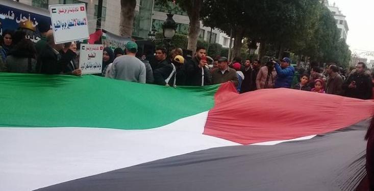 """اتهم حزبي النهضة والنداء بتعطيله : """"توانسة من أجل فلسطين"""" ينظم وقفة احتجاجية دعما لمشروع قانون تجريم التطبيع"""