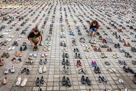 بروكسال: 4500 حذاء لإدانة اسرائيل