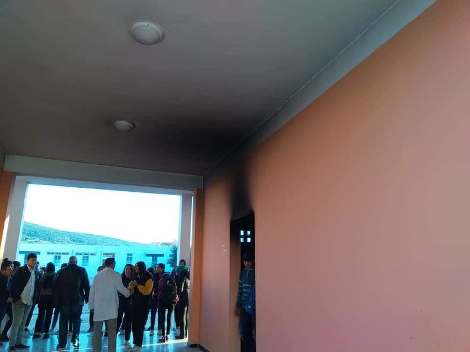 """بعد الاعتداء على مدرسة """"حشاد"""" بالمحمدية: حرق وتخريب أجزاء من معهد الهوارية (صور)"""