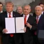 ترامب يُوقع رسميا على قرار الاعتراف بسيادة اسرائيل على الجولان !!